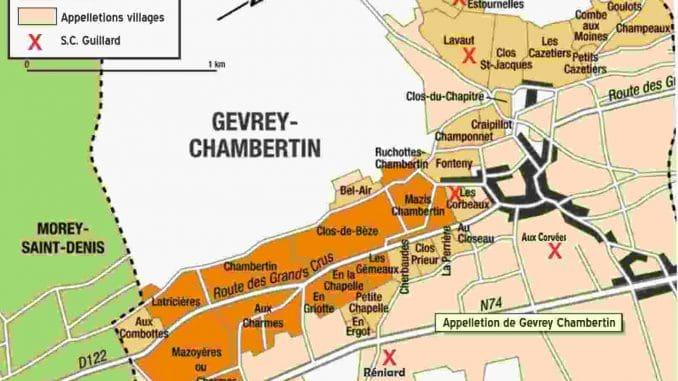 מפת Gevrey Chambertin - תשעה סוגי יינות Grand cru, ו-26 סוגי Premier cru
