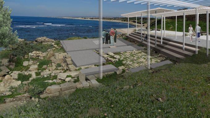 הדמיית תכנית הפיתוח של בית הכנסת העתיק בקיסריה. אדר' יערה שלתיאל ואדר' אלדד גרינפלד, רשות העתיקות