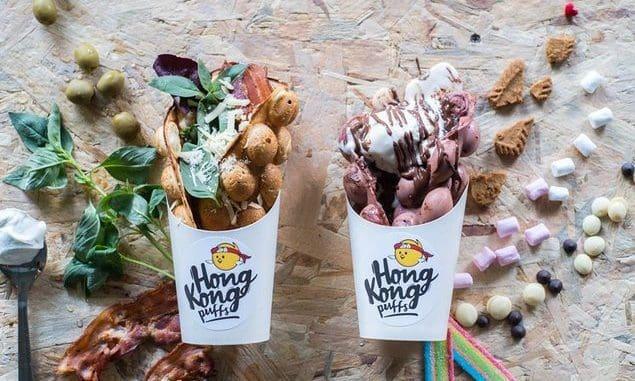דוכן אוכל רחוב מהונג קונג מציע Hong Kong Puffs