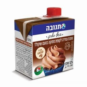 השמנת בטעם שוקולדי מכילה קקאו אמיתי