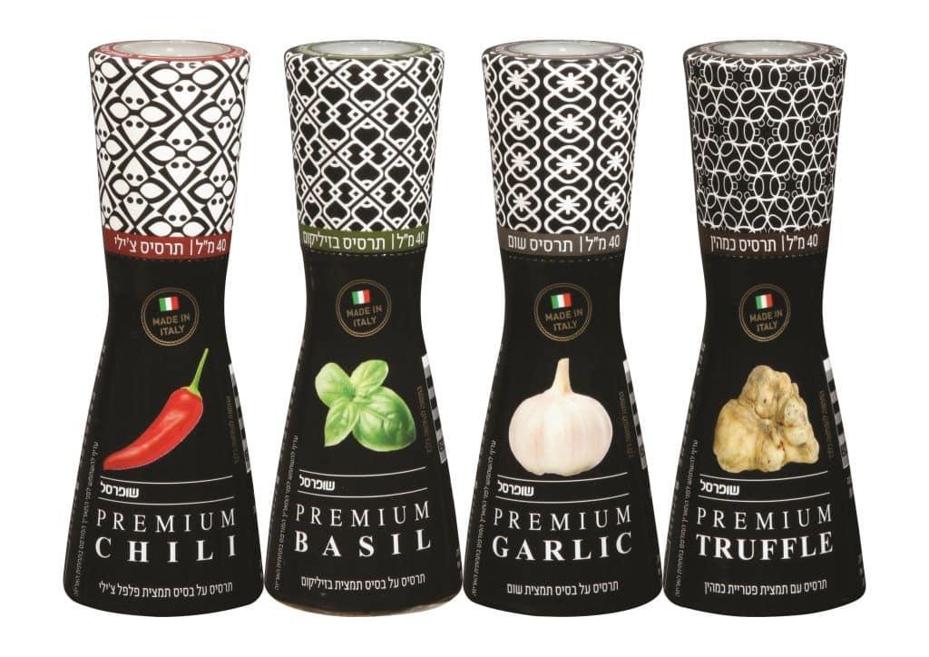 תרסיסי שמן שבכל אחד מהם תמצית תבלין: כמהין, שום, צ'ילי ובזיליקום
