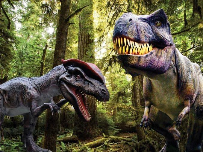 עשרות דינוזאורים בגודל אמיתי (עד 7 מטר גובה), נושמים, זזים ומשמיעים קולות