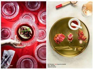 המנה האדומה - טרטר טונה עם בורגול לימון ואבטיח טונה צרובה, קרם עגבניות מגי חרוכות, סשימי טונה, סלט פלפלים אדומים קלויים, ומי עגבניות טריות מתובלות