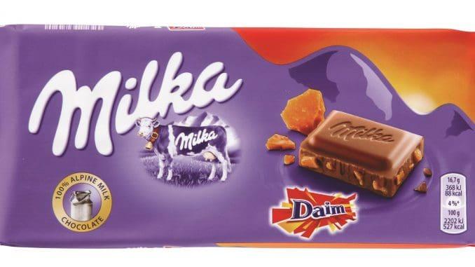 שוקולד מילקה חלב בשילוב שכבה דקה של שוקולד DAIM קרמלי,פריך וקריספי