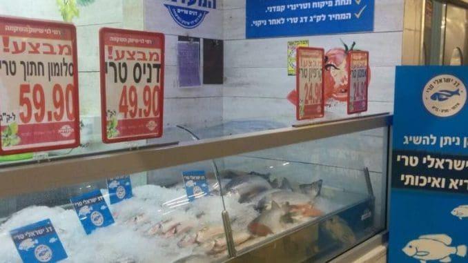 עמדת מכירת דגים טריים ממותגת ברשת רמי לוי. צילום קקטוס תקשורת