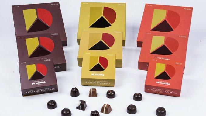 הקונספט החדש DE KARINA THREE GENERATIONS מציג לוגו המחולק לשלושה וכן שלוש סדרות של שוקולד. צילום עדי פרץ