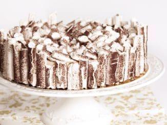 את פסי המרנג האורכיים שזילפנו ואפינו שוברים למקלות בגודל אחיד ומדביקים אותם על העוגה. צילום מתוק מהלב