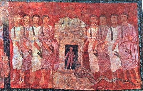 אליהו ונביאי הבעל – ציור קיר מבית הכנסת בדורה אירופוס. צילום מויקיפדיה