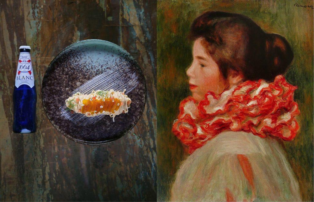 שף אילן מזרחי ממסעדת דקא הכשרה מדמה את צווארון הנערה וצבעיו ואת תחושת התנועתיות המזוהה עם ציוריו של רנואר. צילום אנטולי מיכאלו